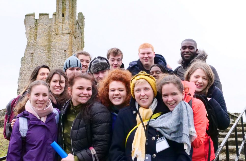 Group shot of the Young Producers and Staff at Helmsley Castle