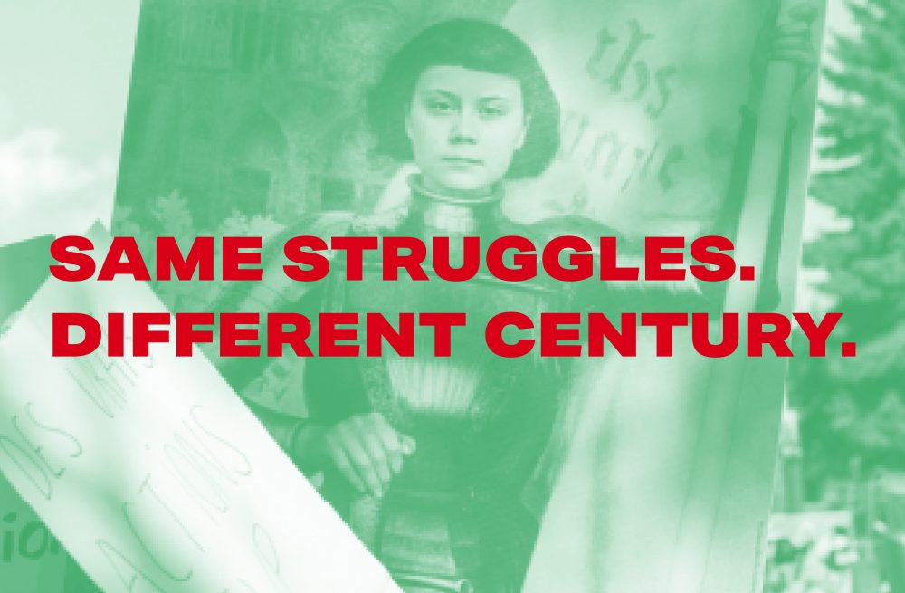 Same Struggles Different Century Graphic with Greta Thunberg and Joan of Arc