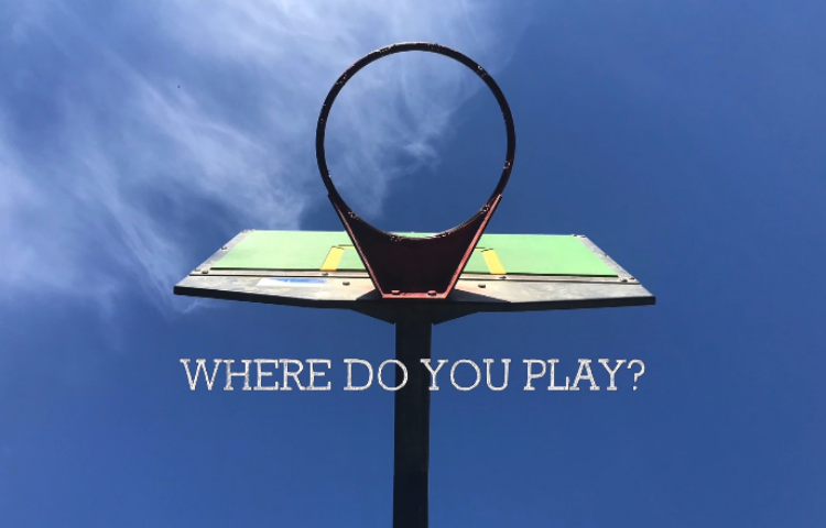 Basketball hoop and the sky