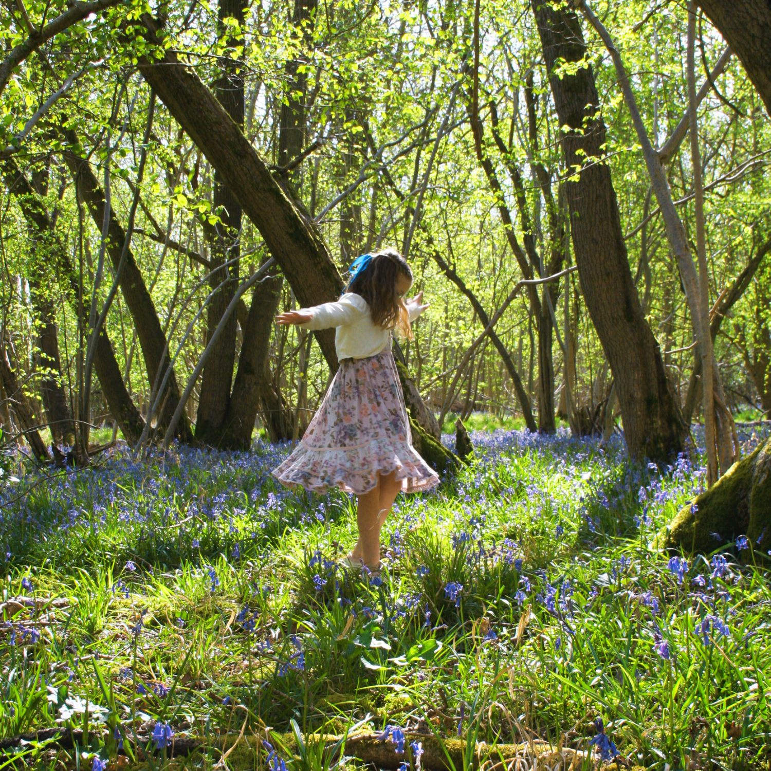 Child playing in a bluebell forest