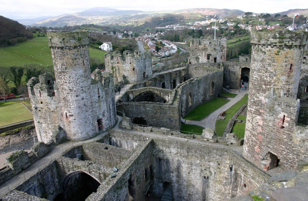Aerial shot of Conwy castle