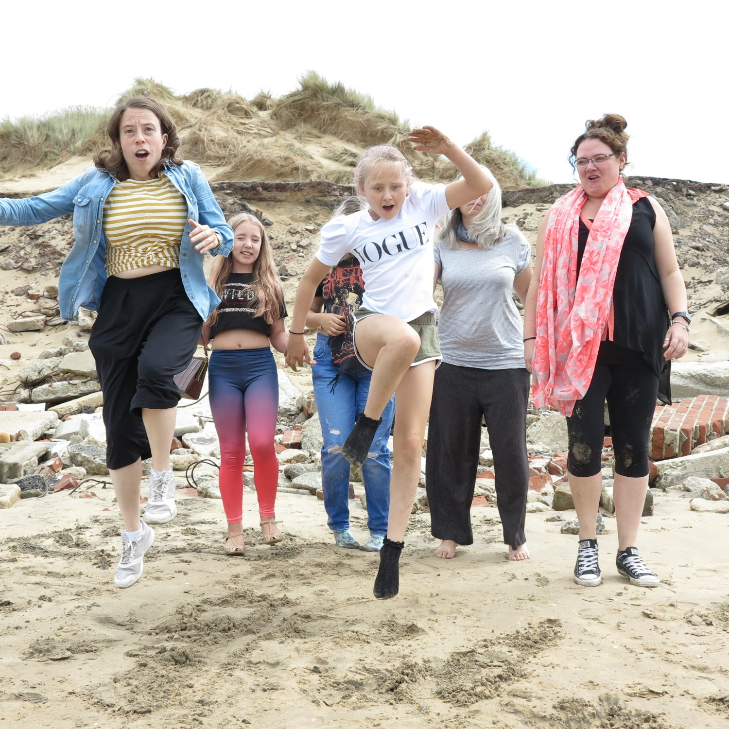 Young people visiting Formby beach