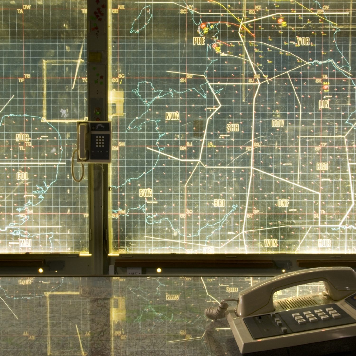 York Cold War Bunker, View of control room showing monitoring and communications equipment.