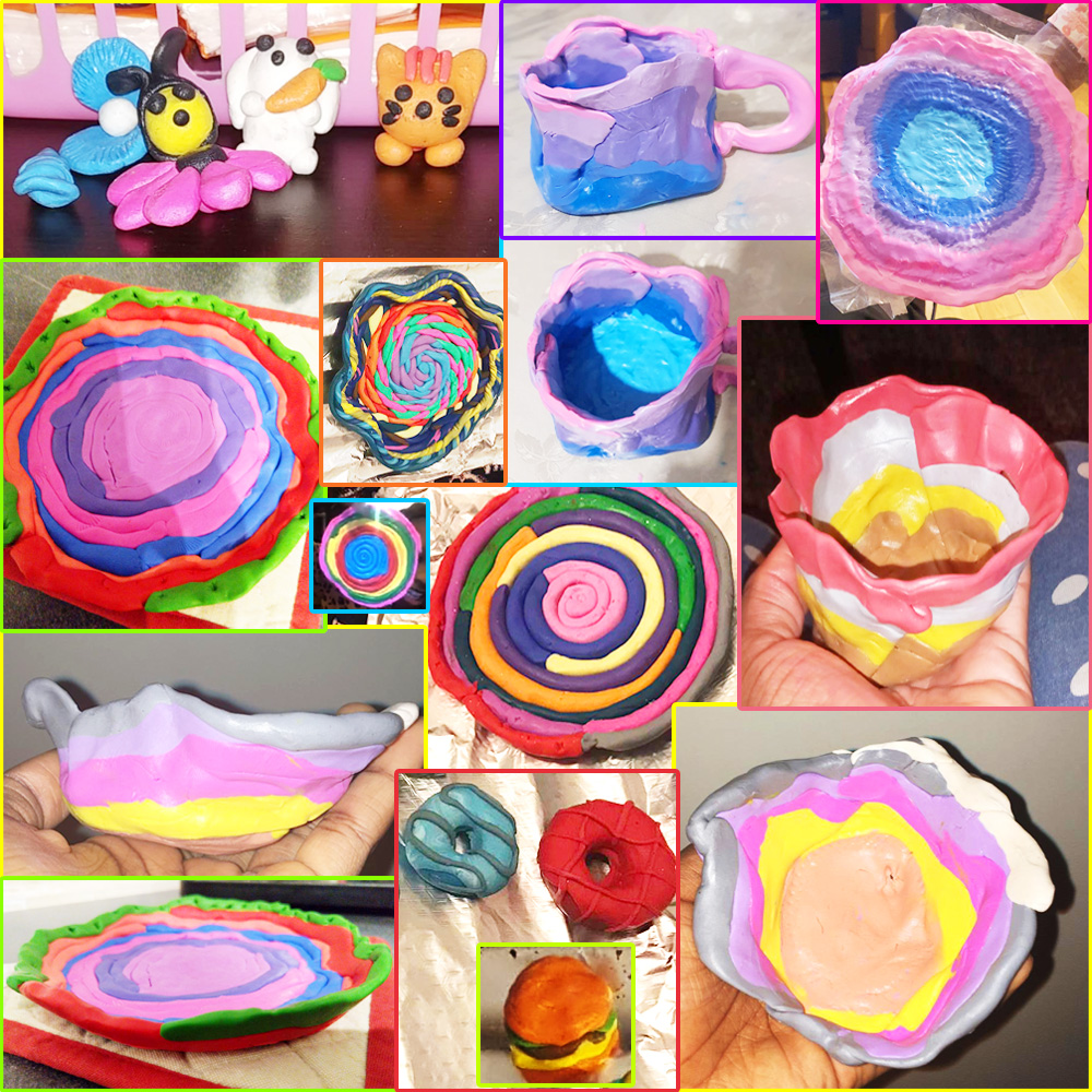 Polymer clay crafts made by girls from Rosebud Center