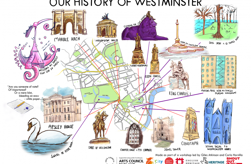 Illustrated map of Westminster