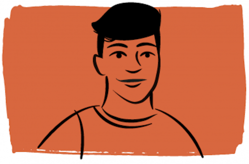 Illustration of person with short hair on orange background