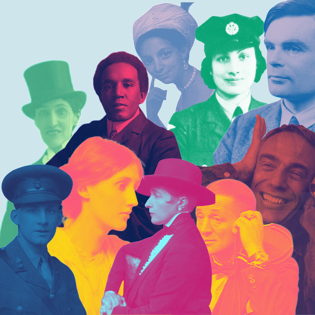 Graphic of a group of history makers in bright colours