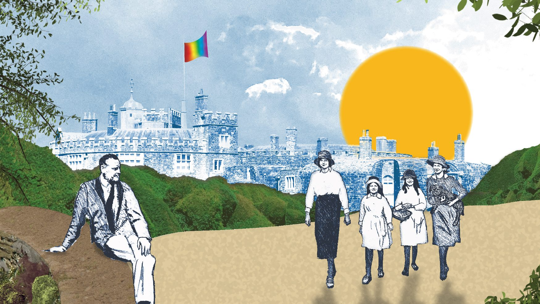 illustration of lord beauchamp and his family with walmer castle in the background bearing the Pride rainbow flag