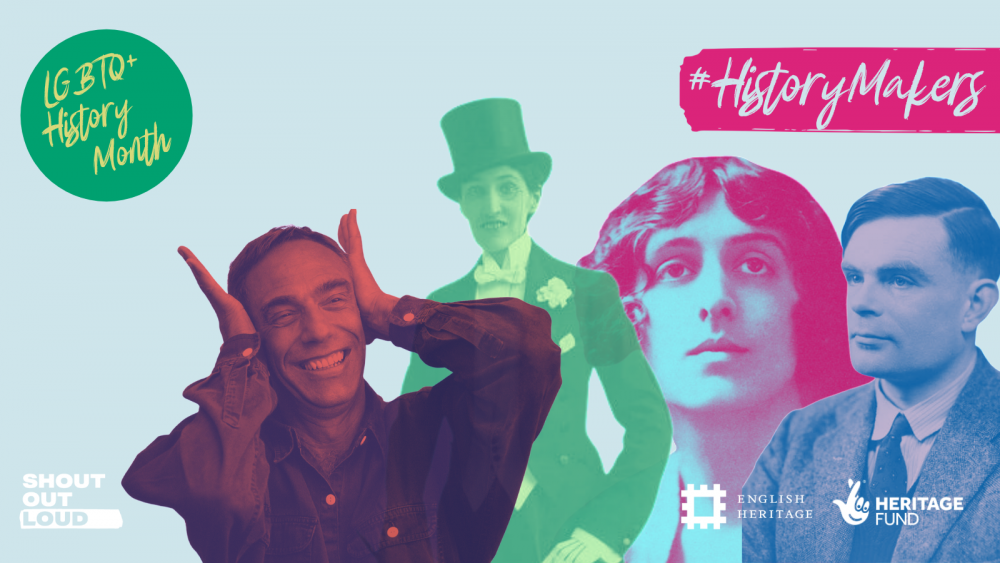 Graphic of Queer History Makers including Alan Turning