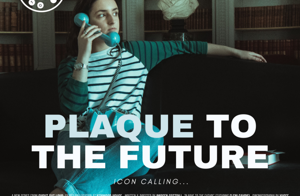 film poster depicting a girl in a library with a phone