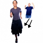 Person in t-shirt with arrows towards a person in a skirt