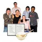 Group of people with recipe book and bowl
