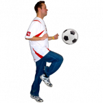 Man with his knee raised bouncing a football