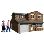 two people walking outside a house