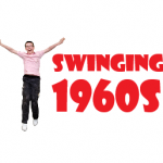 graphic of a person with arms raised and the text swinging sixties