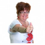 Woman making thumbs up gesture
