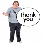 Image of a woman with a giant thank you speech bubble