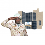 Man in a military uniform outside a hospital