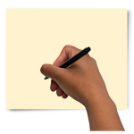 Hand holding a pen over a piece of paper