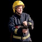 Man in a firefighter uniform