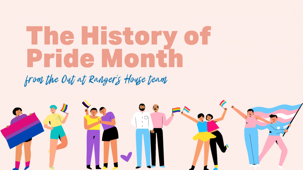Images of cartoon people celebrating with various pride flags