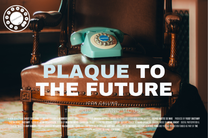 The blue old fashioned phone on a chair
