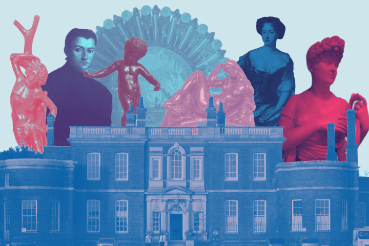 Cut out of rangers hours with selected statues and portraits popping up behind it in vivid pinks and blues