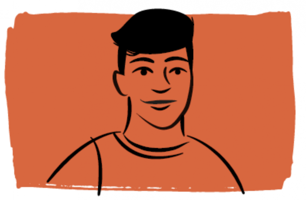 Illustration of a person on an orange background
