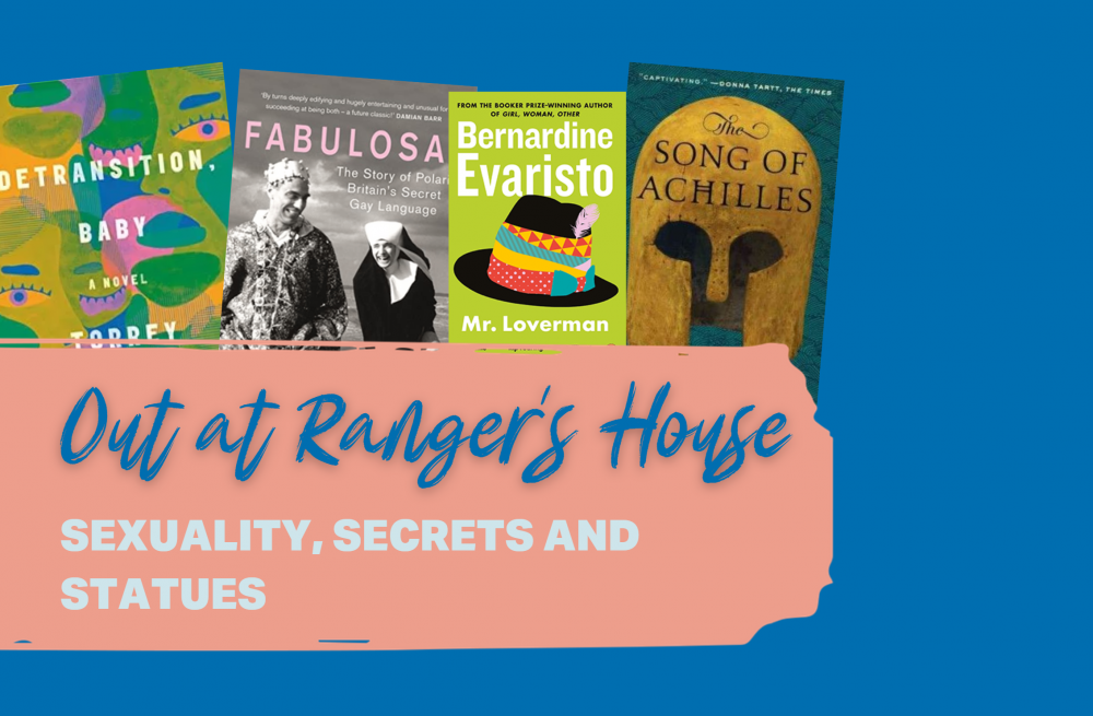 graphic of books behind the banner